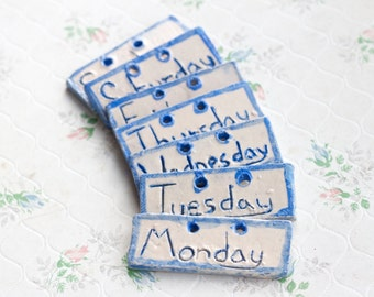 All the Days of the Week - Miniature Handmade Ceramic Plaques