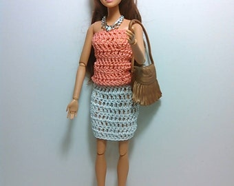 Barbie Outfit- light coral blouse and white skirt- crocheted- handmade. 20% off barbie clothes.