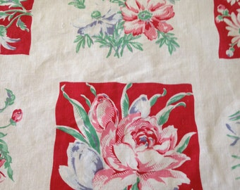Pretty Vintage 1950s Cotton Tablecloth – SpringMaid? – Squares of Pink & Blue Flowers With Red and White Backgrounds