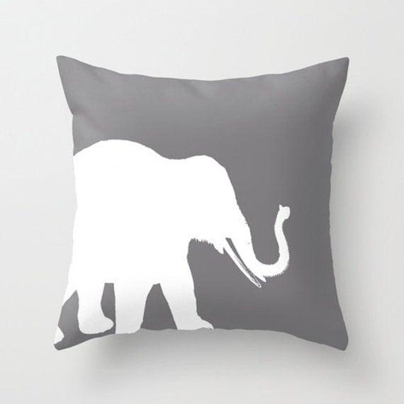 Grey Elephant Throw Pillow : Elephant Throw Pillow Cover Grey White Decor Elephant Decor Elephant Pillow Home Decor Living ...