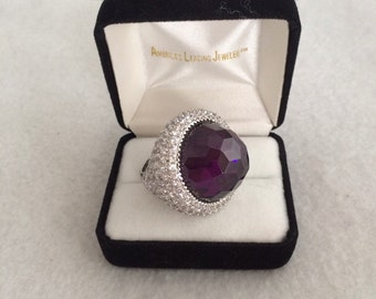 Runway Couture Large Dome Faceted Amethyst Paved crystals CZ Statement Ring