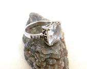 Sterling Cubic Zirconia Ring -  Silver with Large Stone