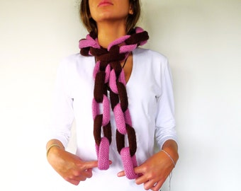 Chain link scarf. Brown & pink chain scarf. Unique handmade scarves. Knitted scarf. Gift idea for her