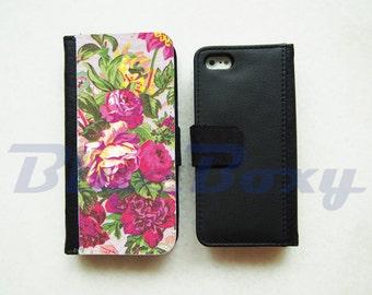 Vintage Pink Floral Wallet Case for iPhone 8, iPhone X, iPhone 7, iPhone 6, iPhone 6s, iPhone 6 Plus, iPhone 5/5s, iPhone 4/4s, Flip Case