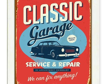 Vintage Retro Garage Service &  Repair Art Print - Classic Garage We can fix anything - Brown Turquoise Blue Red Home Fun Wall Decor poster
