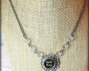 Typewriter Key Necklace with Shift Function Key, Adorned with Clear Crystal Bead Chain. Eco Friendly Gift.
