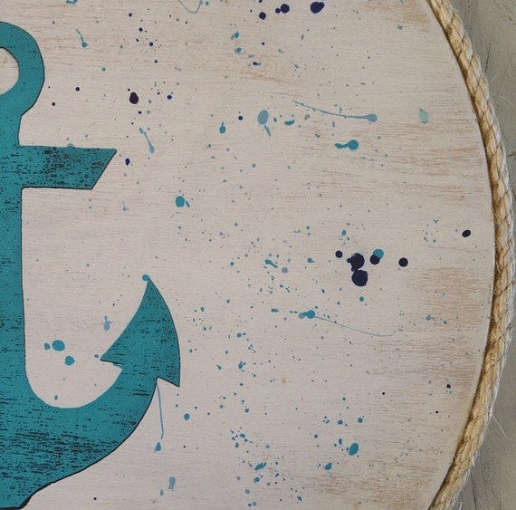 Anchor Wall Art Design on Handpainted Timber Porthole / Turquoise and White