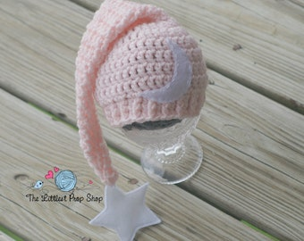 Newborn sleep cap-baby girl long tail elf hat-crochet newborn photo prop-newborn sleep hat-crochet knit elf pixie hat
