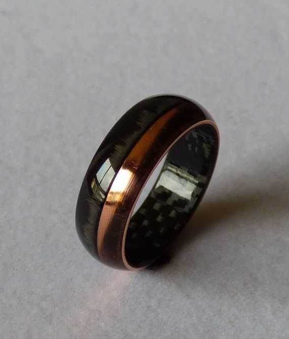copper wedding ring carbonfiber amp copper ring wedding band by carbondetails on 3052