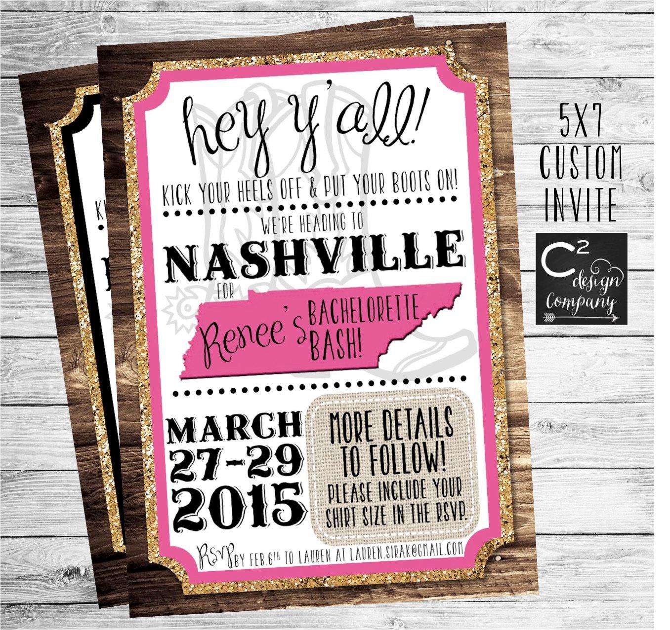 Gold Glitter Nashville Bachelorette Party Invitation