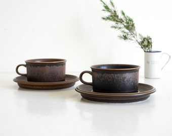 Set of 2 Arabia Finland Ruska Cup and Saucer Ulla Procopé Scandinavian Design Finnish Stoneware Danish Modern Vintage Brown Retro Ceramics