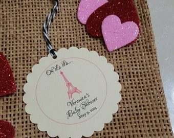 Personalized Favor Tags 2 1/2'', paris tags, Thank You tags, Favor tags, Gift tags, Birthday party tag, girl tags
