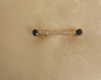 Vintage Victorian Diamond and Sapphire Pin/Brooch in 18k Rose Gold - EB239