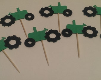12 Green Tractor  Party Picks - Cupcake Topper - Toothpicks - Food Picks Die Cut Punch Cardstock