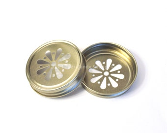 Gold Daisy lids, Gold Mason Jar Daisy Cut Lids, Rustic Wedding Table Setting, Vintage Shower, Baby Shower, Bridal Shower, Favors, USA