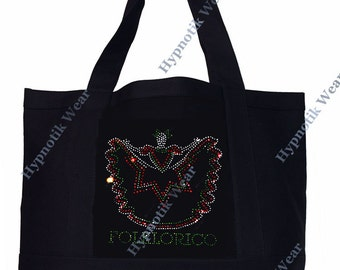 "Rhinestone Sturdy Tote Bag with Zipper & Front Pocket ""  Folklorico Dancer "" Iron On , Hot fix, Dance, Culture,"