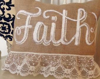 Faith 12'x12' Burlap with Lace Pillow