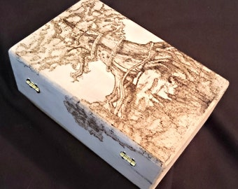 Wood- Burned Magic the Gathering Deck Box- Monocolor Land Complex Example