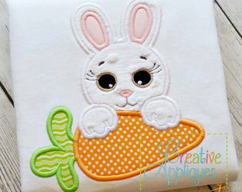 Girl Bunny Rabbit Carrot Easter Applique Machine Embroidery  Design 4 Sizes