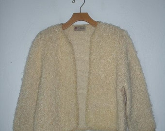 Vintage Cream and Gold Loose Knit Cardigan Sweater Bolero 50s 60s