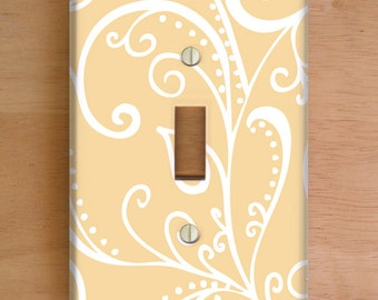 Silent Era, Cream Vinyl Light Switch Cover, Outlet Cover, Wallplate, Home Decor, Swirls, Cream and White, Cream Home Decor, Swirls, Beige