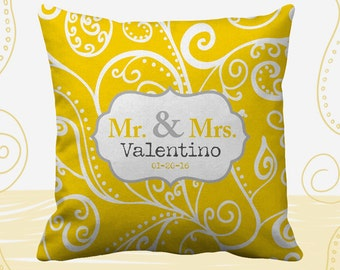 Mr and Mrs Personalized Printed Throw Pillows. 14 Colors Available, Wedding Gift, Home Decor, Cushion, Newlywed, Bride, Groom, Silent Era