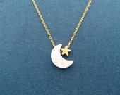 Cute, Moon And Star, Gold, Gift, Necklace