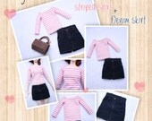 BJD SD 1/3 striped shirt + denim jeans skirt set