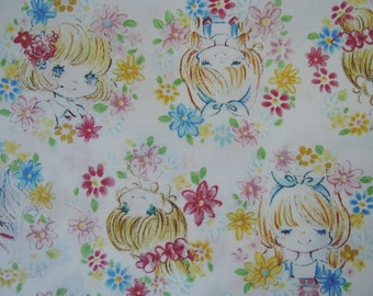 "Fat Quarter of Kawaii Doll Faces Fabric on white Background.  Approx. 18"" x 22""   Made in Japan"