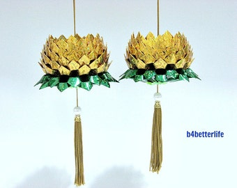 A Pair Of Gold Color Medium Size Origami Hanging Lotus. (4D Glittering paper series). #FLT-35.