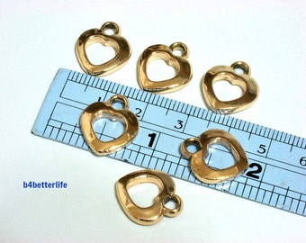 "Lot of 24pcs ""Heart"" Gold Color Plated Metal Charms. #XX56."