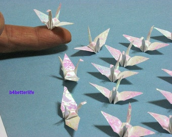 "100pcs White Color 1.5"" Origami Cranes Hand-folded From 1.5""x1.5"" Square Paper. (CY paper series). #FC15-28."
