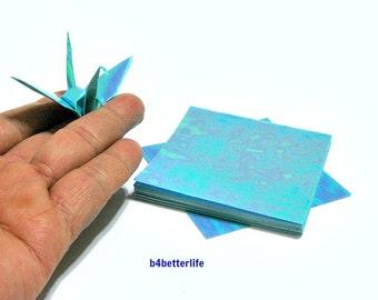 "100 Sheets 3"" x 3"" Blue Color DIY Chiyogami Yuzen Paper Folding Kit for Origami Cranes ""Tsuru"". (AV paper series). #CRK-54."
