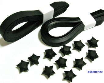 200 strips of Black Color DIY Origami Lucky Stars Medium Size Paper Folding Kit. 24.5cm x 1.2cm. (KR Paper Series). #SPK-130.