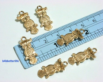 "Lot of 24pcs Double Sided ""Dr, Owl"" Gold Color Plated Metal Charms. #XX28z."