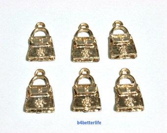 """Lot of 24pcs """"handbag"""" Gold Color Plated Metal Charms. #XXA1."""