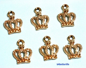 """Lot of 24pcs """"Crown"""" Gold Color Plated Metal Charms. #XX143w."""