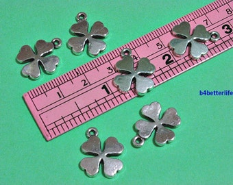 """Lot of 24pcs Antique Silver Tone """"4 Leaf Clover"""" Double Sided Metal Charms. #JL2326."""