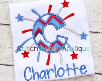 Starburst Fireworks Patriotic 4th of July Machine Applique Alpha