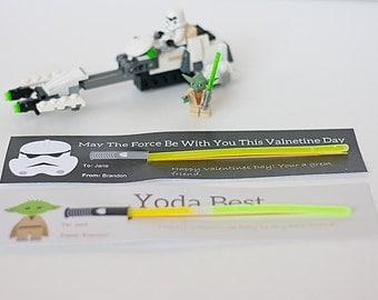 Star Wars Valentine Cards - Kids Valentines - Printable Star Wars Light Saber Valentine Day Cards - Instant Download