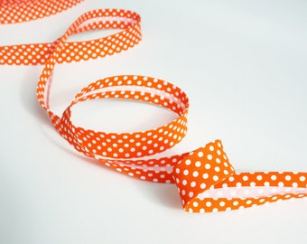 3 yards Bias Tape, Double Fold Bias Tape, Bias Binding Double Fold,Bias Binding, Polka Dot Bias Tape,Fabric Binding, Orange Bias Tape