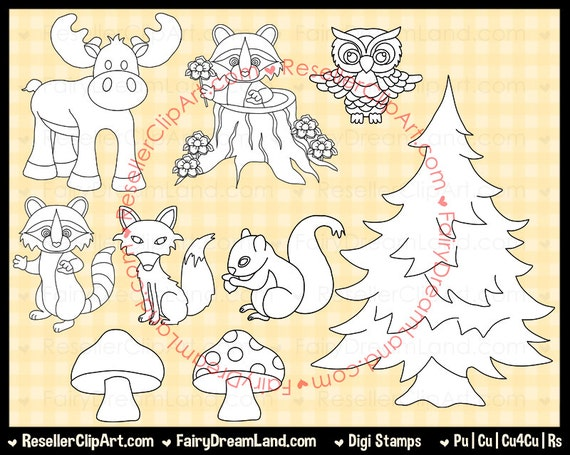Line Drawings Of Woodland Animals : Woodland animals digital stamps and line art commercial use