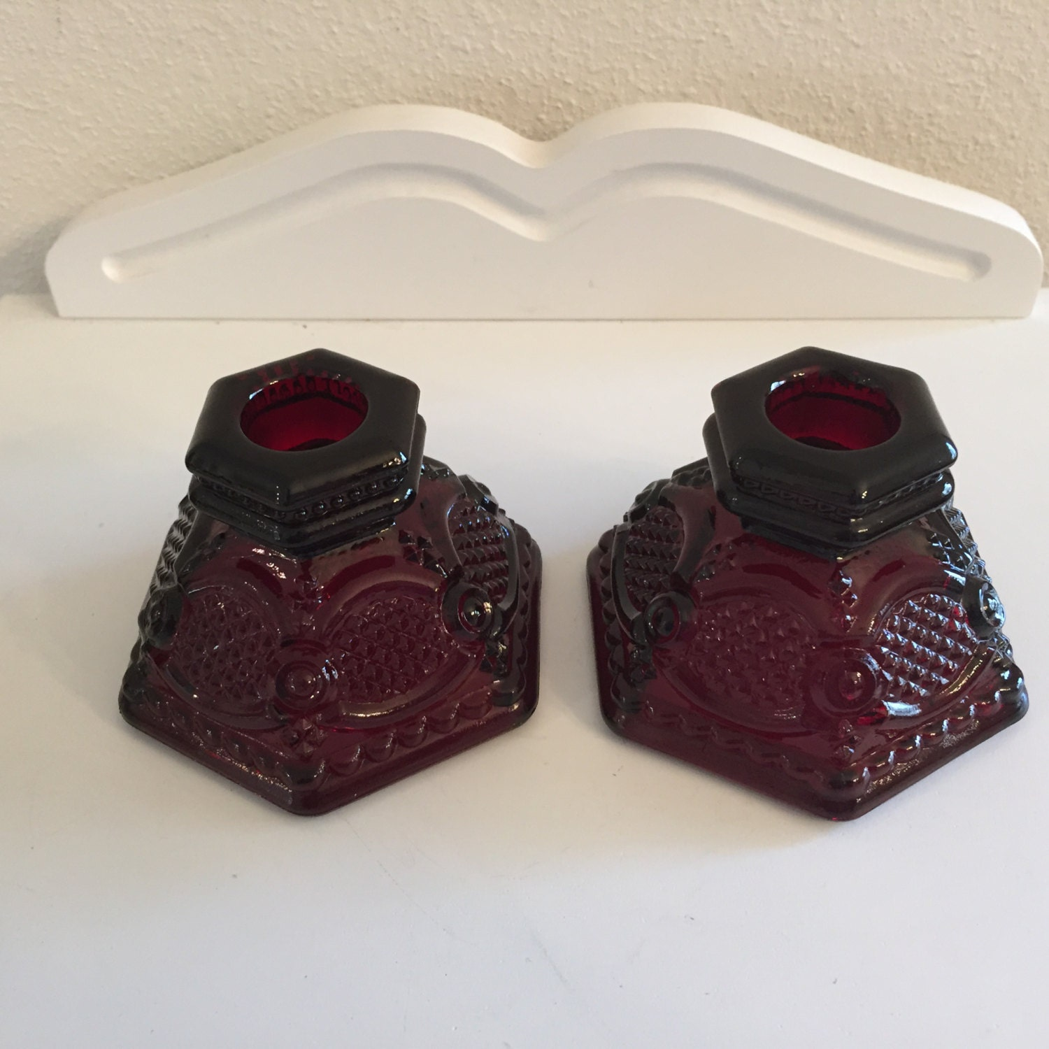 Pair Of Avon 1876 Cape Cod Collection Ruby Red Candleholders