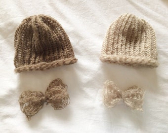 New Mohair Beanie Hat & Bow Tie 2 Piece SET newborn baby boy crochet photo prop