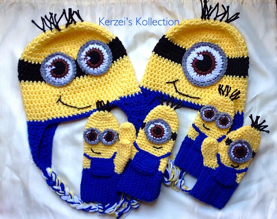 Free Crochet Pattern Minion Mitts : Items similar to Despicable me minion set- minion hat and ...