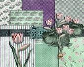 Easter Digital Paper Pack / Shabby Chic Easter Digital Paper / Spring Digital Paper 12x12 + 8.5x11 / Tulip Clipart / Easter Bunny Clipart