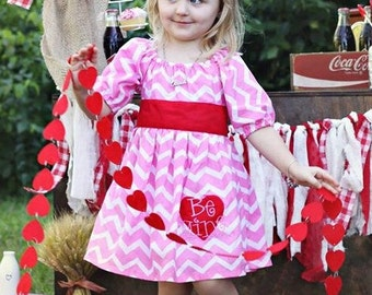 "Precious Pink & Red ""Be Mine"" Valentine's Day Ruffle Dress - Chevron - Heart Applique - Girls - Party - Holiday - Celebration - Photos"