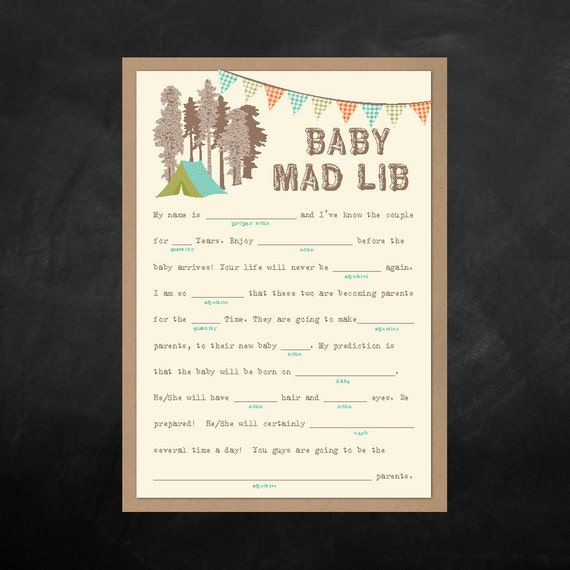 Instant Download   Baby Shower Mad Lib Game   Camping Themed   Shower Game    Print At Home 2 Sheets Per A 8.5 X11