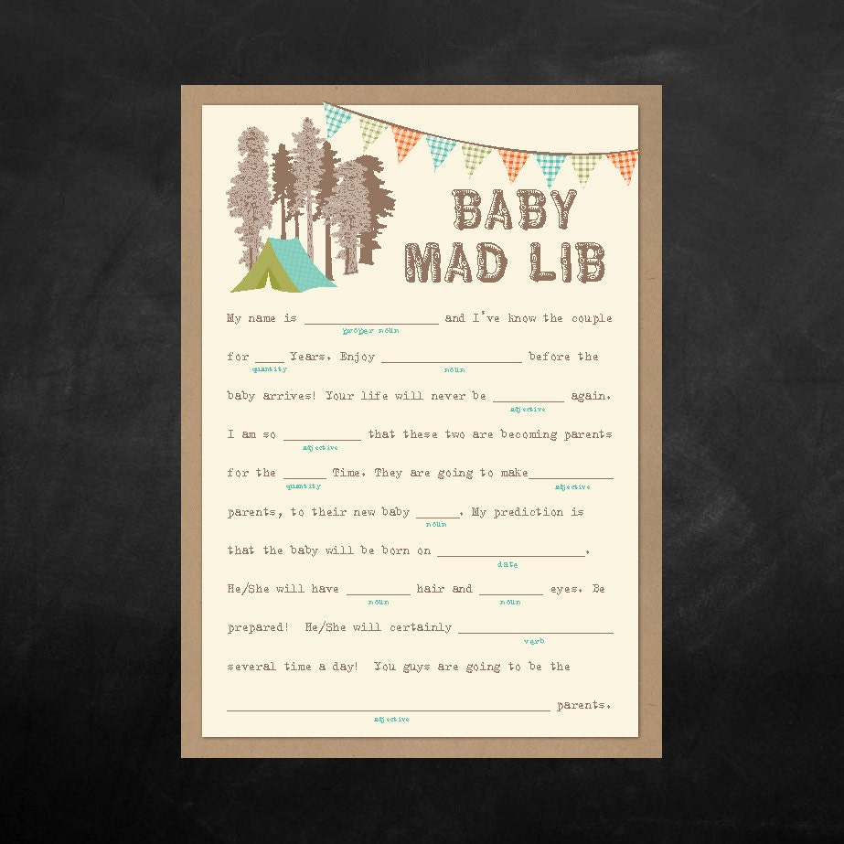 Instant Download Baby Shower Mad Lib Game Camping Themed