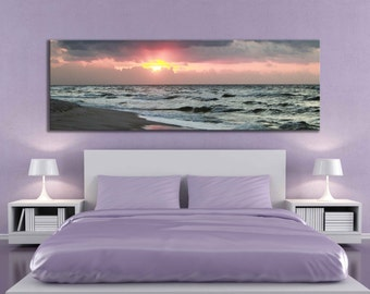 Large panoramic 20 x 60 or 12 x 36 inch canvas sunrise sunset beach ocean home decor rustic living room decal photography sea water bathroom
